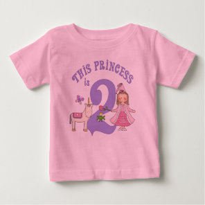 Unicorn Princess 2nd Birthday Baby T-Shirt