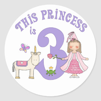 Unicorn Princess 3rd Birthday Round Sticker