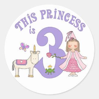 Unicorn Princess 3rd Birthday Round Stickers