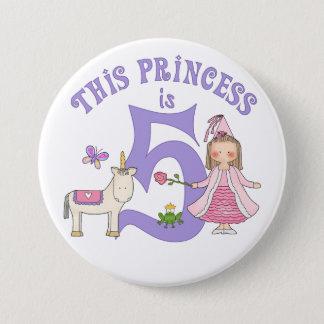 Unicorn Princess 5th Birthday 7.5 Cm Round Badge