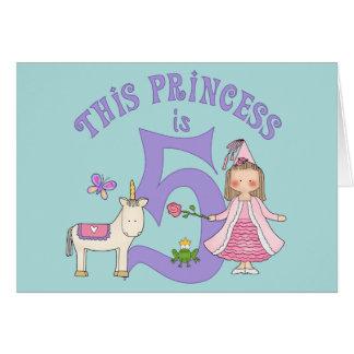 Unicorn Princess 5th Birthday Inviitation Card