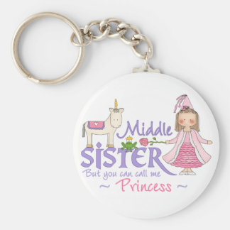 Unicorn Princess Middle Sister Basic Round Button Key Ring