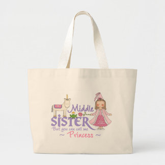 Unicorn Princess Middle Sister Large Tote Bag