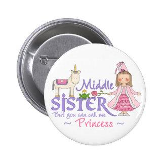 Unicorn Princess Middle Sister Pinback Buttons