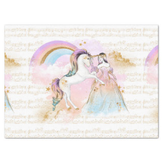 Unicorn Princess Rainbow music stars pink blue Tissue Paper