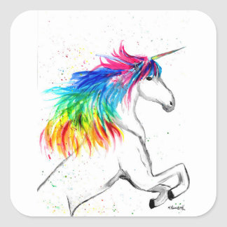 Unicorn print Unicorn design rainbow Square Sticker
