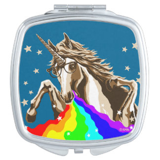 Unicorn pukes rainbow travel mirror