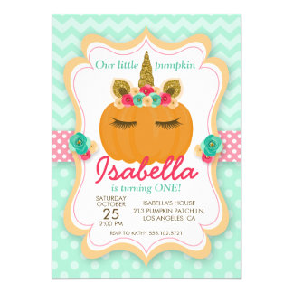 Unicorn Pumpkin Girl's Birthday Party Invitation