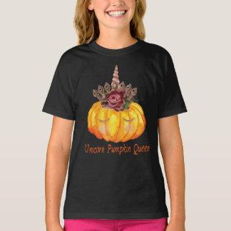 Unicorn Pumpkin Queen with Floral Crown T-Shirt