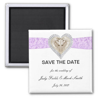 Unicorn Purple Lace Save The Date Magnet