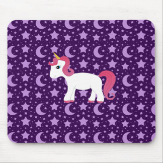 Unicorn purple stars and moons mouse pad