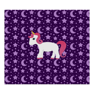 Unicorn purple stars and moons poster