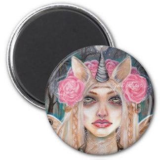 Unicorn Queen w Golden Eyes 6 Cm Round Magnet