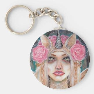 Unicorn Queen w Golden Eyes Basic Round Button Key Ring