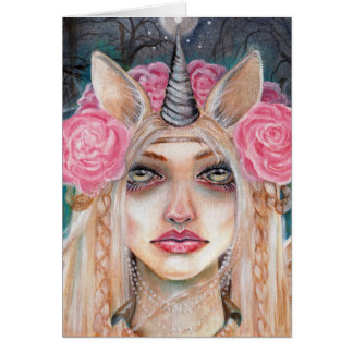 Unicorn Queen w Golden Eyes Greeting Card