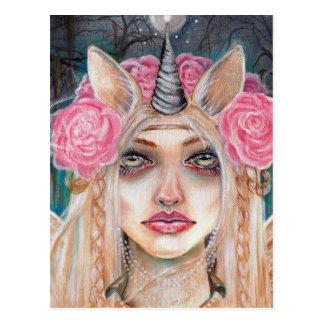 Unicorn Queen w Golden Eyes Postcard