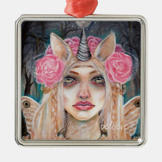 Unicorn Queen w Golden Eyes Silver-Colored Square Decoration