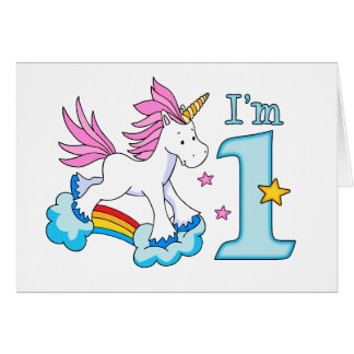 Unicorn Rainbow 1st Birthday Note Card