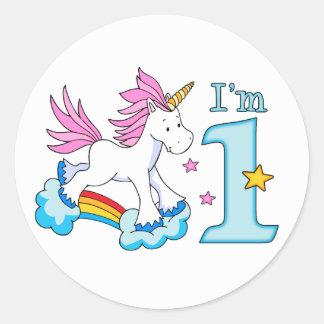 Unicorn Rainbow 1st Birthday Round Sticker