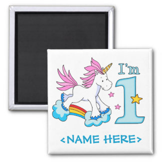Unicorn Rainbow 1st Birthday Square Magnet