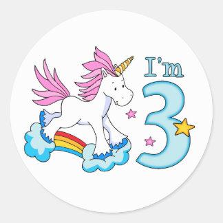 Unicorn Rainbow 3rd Birthday Stickers