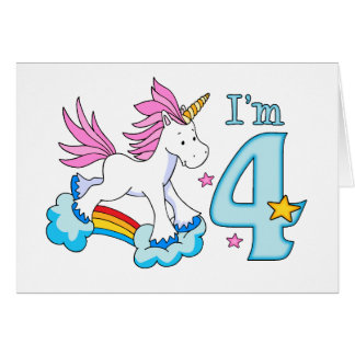 Unicorn Rainbow 4th Birthday Card