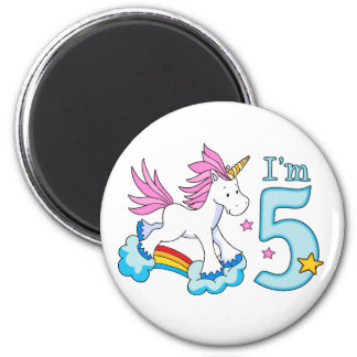 Unicorn Rainbow 5th Birthday 6 Cm Round Magnet