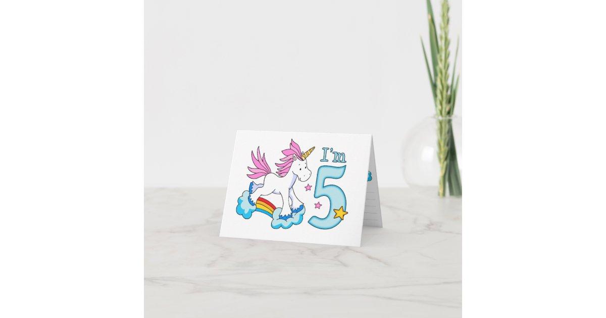 Unicorn Rainbow 5th Birthday Invitation