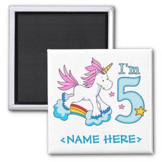 Unicorn Rainbow 5th Birthday Square Magnet