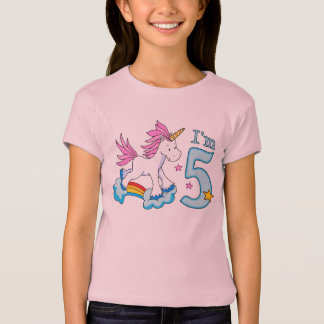 Unicorn Rainbow 5th Birthday T-Shirt