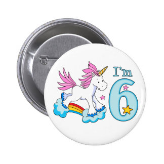 Unicorn Rainbow 6th Birthday 6 Cm Round Badge