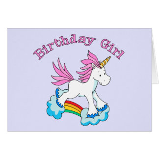 Unicorn Rainbow Birthday Girl Card