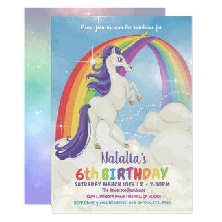 Unicorn Rainbow Birthday Party Invitation
