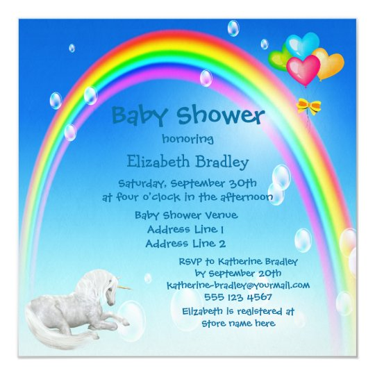 Unicorn, Rainbow & Bubbles Baby Shower Card