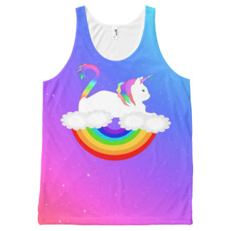 Unicorn Rainbow Cat Tank Top