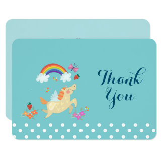 Unicorn Rainbow Clouds and Flowers Birthday Thanks Card