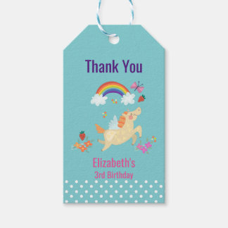 Unicorn Rainbow Clouds and Flowers Birthday Thanks Gift Tags