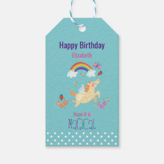 Unicorn Rainbow Clouds and Flowers Happy Birthday Gift Tags