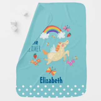 Unicorn Rainbow Clouds and Flowers Little Dreamer Baby Blanket