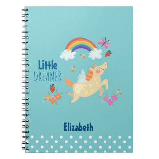 Unicorn Rainbow Clouds and Flowers Little Dreamer Spiral Notebook