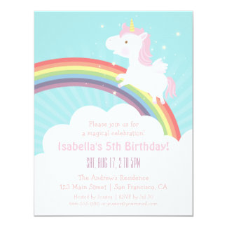 Unicorn Rainbow Girls Birthday Party Invitations