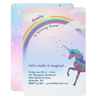 Unicorn Rainbow Glitter Stars Magical Birthday Invitation