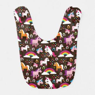 unicorn rainbow kids background horse baby bib