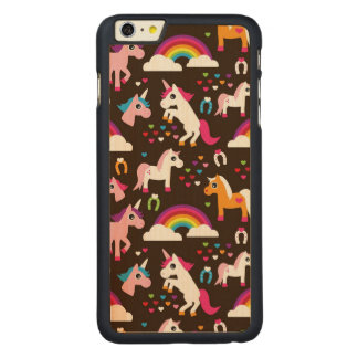 unicorn rainbow kids background horse carved maple iPhone 6 plus case