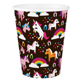 unicorn rainbow kids background horse paper cup