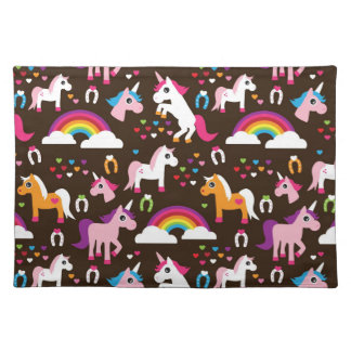 unicorn rainbow kids background horse placemat