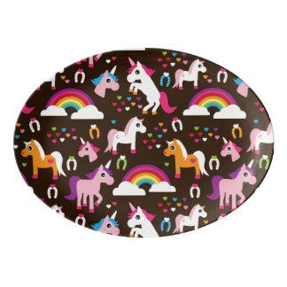 unicorn rainbow kids background horse porcelain serving platter