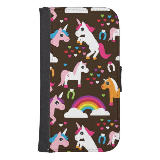 unicorn rainbow kids background horse samsung s4 wallet case