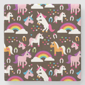 unicorn rainbow kids background horse stone coaster