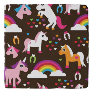 unicorn rainbow kids background horse trivet